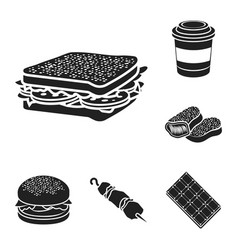 fast food black icons in set collection for design vector image
