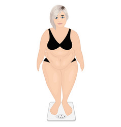 Fat girl on a weight machine weight control vector