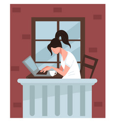 female character working on computer on balcony vector image