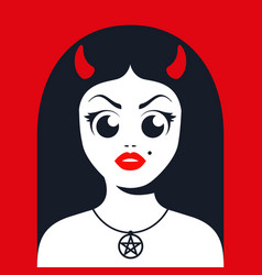 Female devil with horns vector