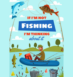 Fisher man with rod fishing in boat vector