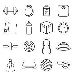 fitness icons outline set vector image