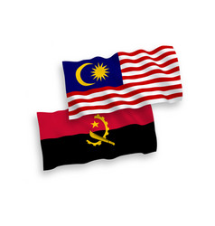 flags angola and malaysia on a white background vector image