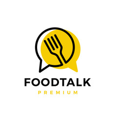 food talk fork chat logo icon vector image