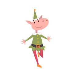 funny christmas elf character symbol xmas and vector image