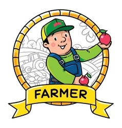 Funy farmer or gardener Profession ABC series vector image