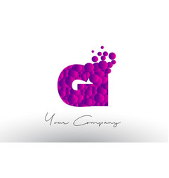 Gi g i dots letter logo with purple bubbles vector