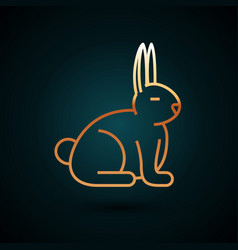 Gold line rabbit icon isolated on dark blue vector