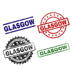 grunge textured glasgow seal stamps vector image