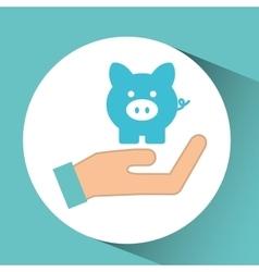 hand concept save money piggy vector image