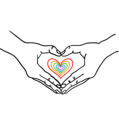 hands forming heart shape around heart vector image