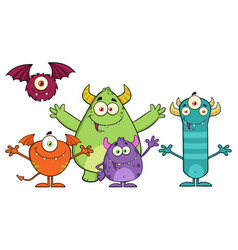 happy funny monsters cartoon characters vector image