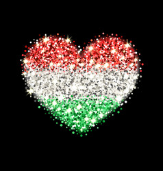 Hungary flag sparkling heart badge vector