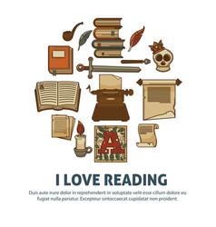 i love reading poster literature vintage books vector image