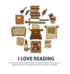 i love reading poster of literature vintage books vector image