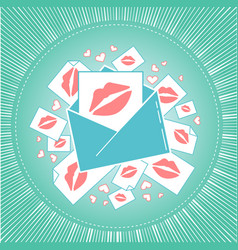 Icon of love envelope with kisses vector