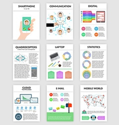 Infographics set in flat style about smartphone vector