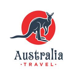Kangaroo animal logo design with a circle vector