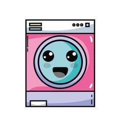 Kawaii cute happy washing machine vector