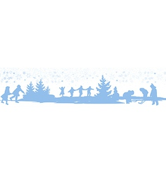 kids playing winter games card vector image