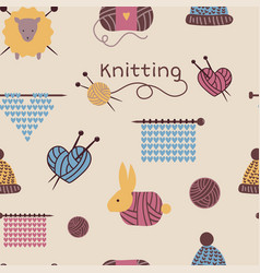 Knitting needles pattern seamless wool vector
