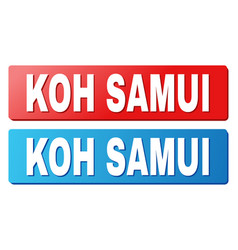 Koh samui text on blue and red rectangle buttons vector
