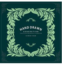 label ornate swirls and vignettes frame design vector image