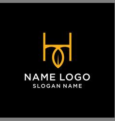 letter h leaf logo vector image