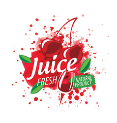 logo splashes cherry juice on white vector image