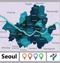 Map seoul south korea vector