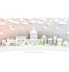 Montpelier vermont city skyline in paper cut vector