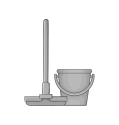 Mop and bucket icon black monochrome style vector image