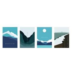 Mountain abstract poster geometric landscape vector