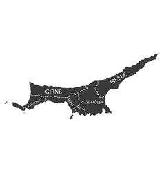 Northern cyprus map labelled black vector