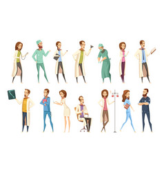 Nurse characters set cartoon retro style vector