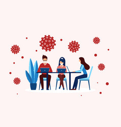 office worker people in masks work sitting vector image