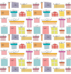 pattern with hand drawn gift box vector image