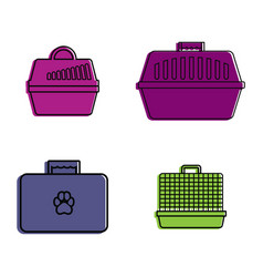 pet bag icon set color outline style vector image