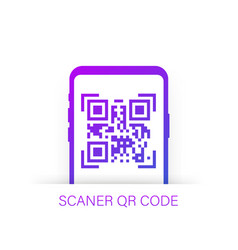 Qr code scanning like linear black phone concept vector