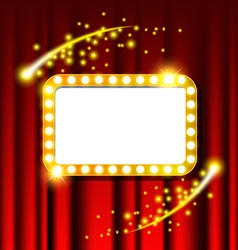 Retro light sign and red curtain vector