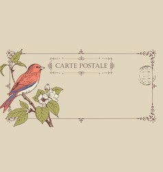 retro postcard with a bird on a flowering tree vector image