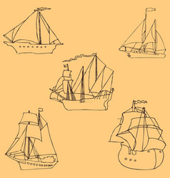 Sailboats sketch by hand pencil drawing by hand vector