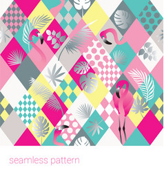 Seamless tropical patter with flamingo vector