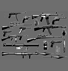 set bundle military guns and rifles vector image