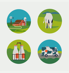 set dairy milk farm round shaped icons or vector image