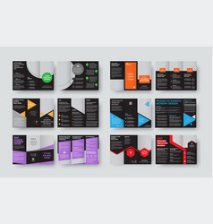 set of black templates for tri-fold brochures vector image
