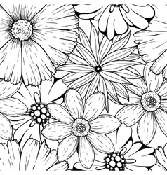 Set of hand drawn colorless flowers and vector