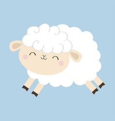 Sheep lamb icon cloud shape jumping animal cute vector