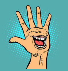 smile joy emotion hi five hand gesture vector image
