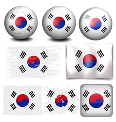 South Korea flag on different objects vector image
